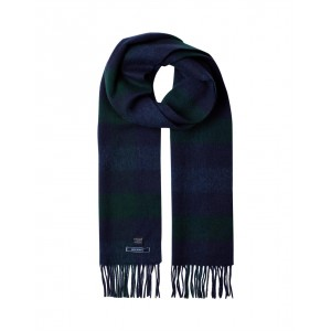 Joules Tytherton Wool Check Scarf Navy Green