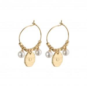 Pilgrim Affection Earrings Gold Plated White