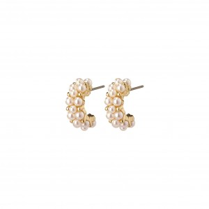 Pilgrim Warmth Earrings Gold Plated White