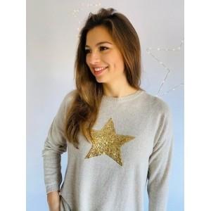 Luella Sequin Star Jumper Sand/Gold