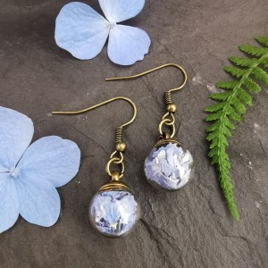 The Butterfly & Toadstool Hydrangea Terrarium Earrings