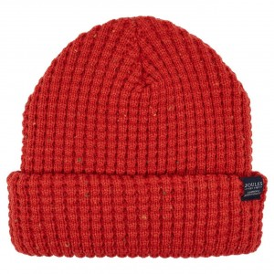 Joules Bamburgh Knitted Hat Deep Red