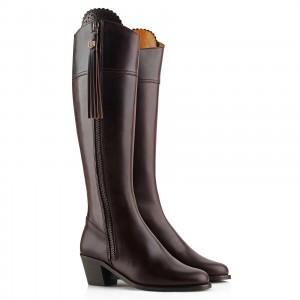 Fairfax & Favor Regina Heeled Leather Mahogany